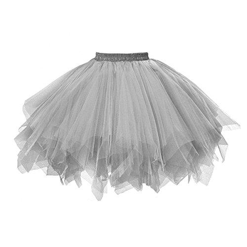 URVIP 80's Party Skirt Lolita Petticoat Vibrant Full Crinoline Layers Tulle Tutu Gray L/XL