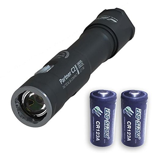 Armytek Partner C2 Pro v3 2000 Lumens Flashlight XHP35 LED w/2x Eco-Sensa Premium Photo Lithium CR123 Batteries