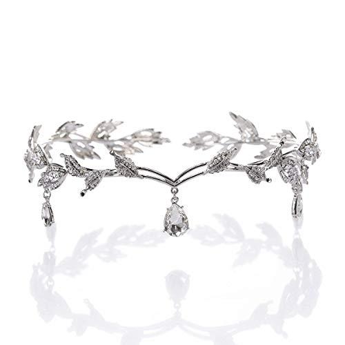 ThyWay Elegant Rhinestone Crystal Silver Leaf Wedding Headpiece Headband Bridal Tiara Crown