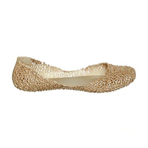Kvinners Elegant Sommer Stil Glitter Jelly Flat Sandaler Champagne