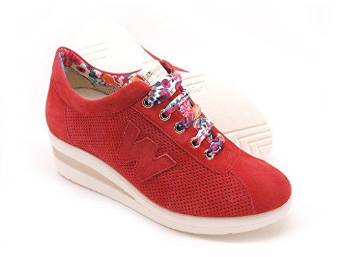 zeppa scarpe suola con tomaia donna camoscio Walk Melluso gomma aq4PUC