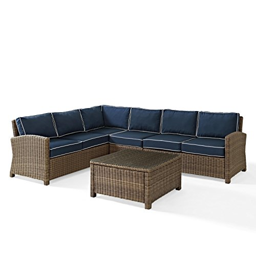 Crosley KO70020WB-NV Bradenton 5-Piece Wicker Seat Set