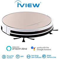 iView WiFi Smart Robot Vacuum cleaner works with Alexa, Google Assistant, Cleaning Robot with Sweep & Mop for Hard Floor & Short Carpet, Free APP, Control From Anywhere,