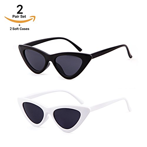 Clout Goggles Cat Eye Sunglasses Vintage Mod Style Retro Kurt Cobain Sunglasses (Black&White(2 paris), 51)