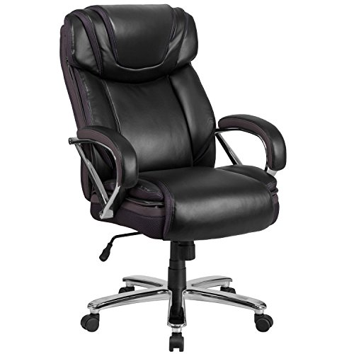 (Flash Furniture HERCULES Series Big & Tall 500 lb. Rated Black Leather Executive Swivel Chair with Extra Wide Seat)