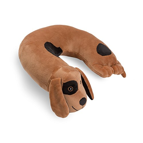 Critter Piller Kid's Travel Buddy and Comfort Pillow, Brown Dog, Hypoallergenic, Machine Washable, Recycled Filling (Childrens Travel Neck Pillow)