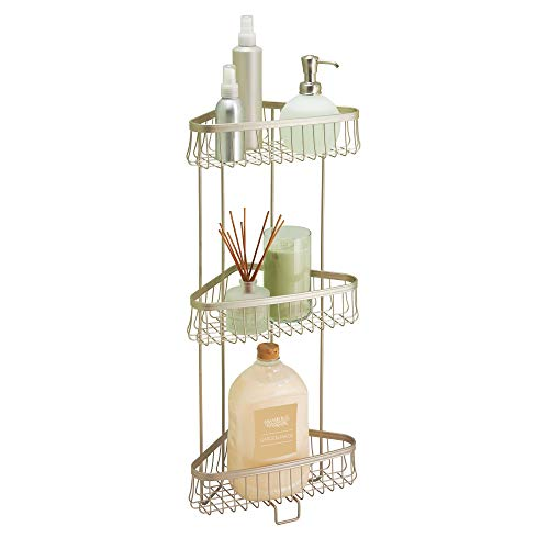 iDesign York Metal Wire Corner Standing Shower Caddy 3-Tier Bath Shelf Baskets for Towels, Soap, Shampoo, Lotion, Accessories, Satin from iDesign