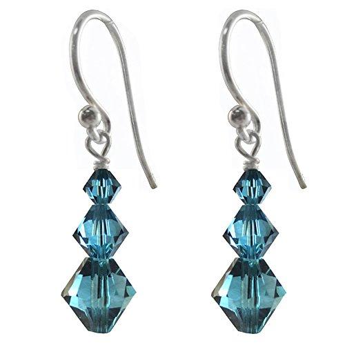 Earrings Made with Swarovski Crystal Elements Indicolite Colored 3 Bicones, Shepherd-hook
