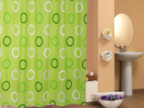 Ekershop EDLER Textil Duschvorhang 120 x 200 cm Gr/ün mit Kreisen inkl Ringe