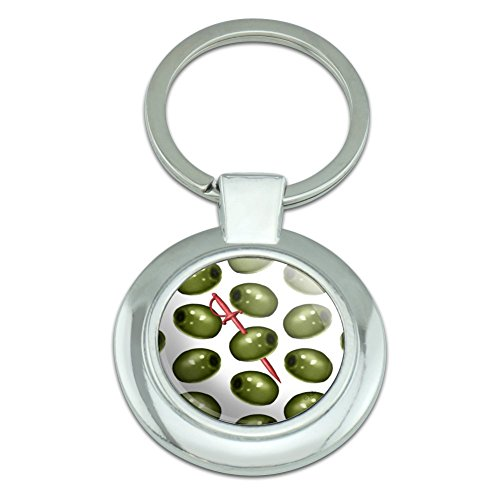 - Martini Green Olive Pattern Classy Round Chrome Plated Metal Keychain