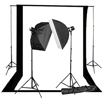 CowboyStudio 220 Watt Photography Studio Monolight Flash Lighting Kit - 2 Studio Flash/Strobe, 2 Softboxes, 1 Background Support System, Black & White Muslin Backdrops and Carry Case