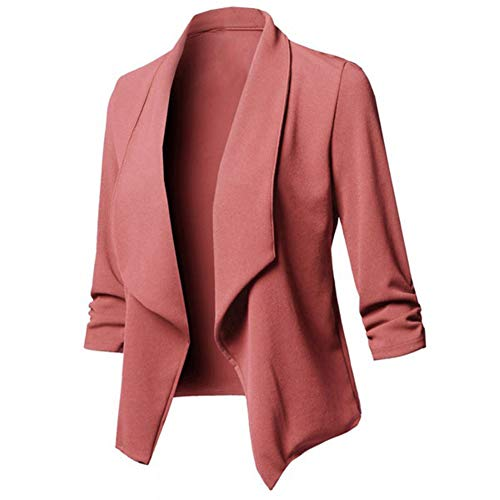 Softmusic Small Suit Jacket,Women Autumn Long Sleeve Top Solid Color Outwear,Slim Fit Blazer Pink S