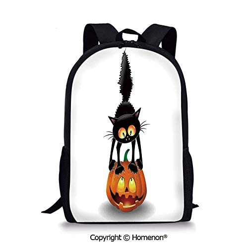 Orange Black,design Kids Print Backpack Schoolbag Book Bag Teenagers(17.3