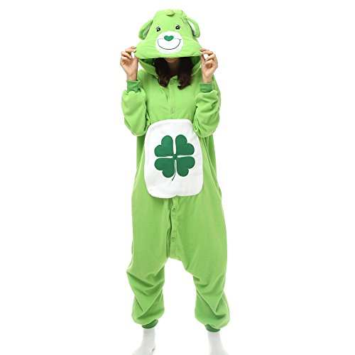 Amazon.com: Adult Clover Care Bear Onesie Fleece Cartoon Sleepwear Cosplay Costume Unisex: Clothing