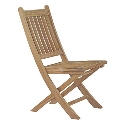 Modway Marina Teak Wood Outdoor Patio Folding Chair in Natural ()