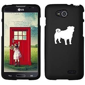 LG Optimus L90 D405 D410 D415 Snap On 2 Piece Rubber Hard Case Cover Pug (Black)