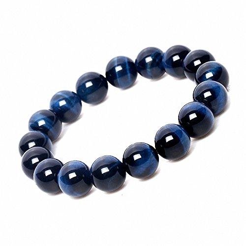 Sterling Tigers Eye Bead Bracelet (Sobly 4A 8mm Blue Tiger Eye Stone Bracelet Handmade Stretch Strand Mala Prayer Beads)