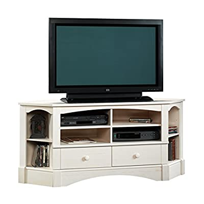 "Sauder 402905 Harbor View Corner Entertainment Credenza, For TVs up to 60"", Antiqued White finish - Accommodates up to a 60"" TV weighing 95 lbs. Or less Two adjustable shelves hold audio/video equipment Two adjustable corner display shelves - tv-stands, living-room-furniture, living-room - 41OSYusGpfL. SS400  -"