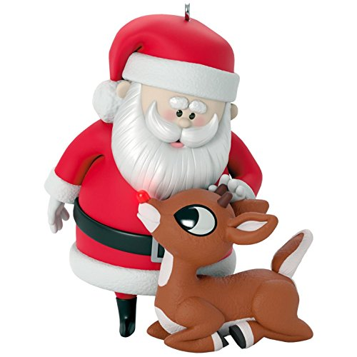 Hallmark Keepsake 2017 Rudolph the Red-Nosed Reindeer Won't You Guide My Sleigh Tonight? Christmas Ornament With Light (Sleigh Decoration Christmas)
