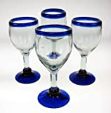 Mexican Glass, Wine, Hand Blown, Blue Rim (Set of 4) 14 Oz