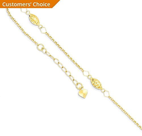 ICE CARATS 14k Yellow Gold Circle Chain Rice Puff Beads 1 Inch Adjustable Plus Size Extender Anklet Ankle Beach Bracelet Fine Jewelry Gift Set For Women Heart
