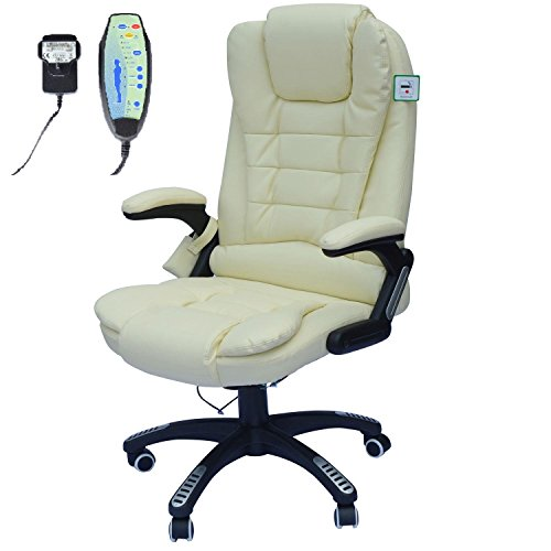 Homcom Deluxe Reclining Faux Leather Office Computer Chair 6-Point Massage...