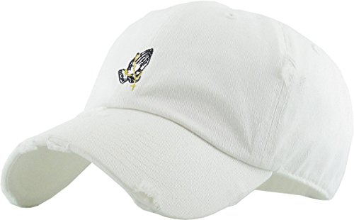 KBSV-061 WHT Praying Hands Vintage Rosary Distressed Dad Hat Baseball Cap Polo Style Adjustable