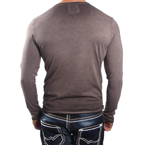 R-Neal 5310 Braun Langarm Sweatshirt Longsleeve Figurbetont Shirt Hoodie T-Shirt, Größe:M