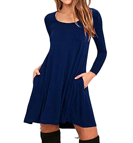 Fit Relaxed Blue Purplish Tunic Casual Party Pendulum Big Women's Howme Sleeve Dress Long wBanXgq