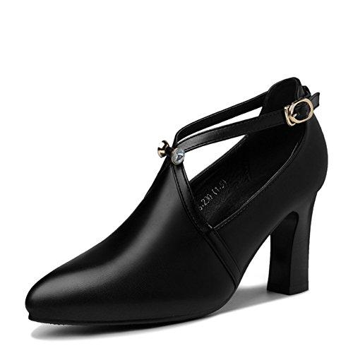 PUMPS MS Spitzen High Heels, Joker Chunky Heels Schuhe,Flache Schuhe-A Fußlänge=24.3CM(9.6Inch)