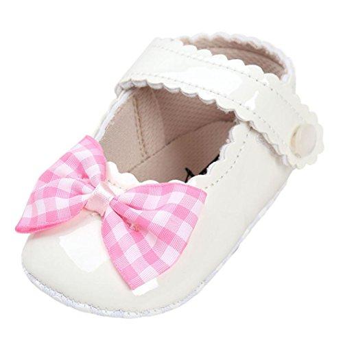 JIANGFU Mädchen Plaid Bogen Prinzessin Schuhe, Baby Bowknot Krippe Schuhe Weiche Sohle Anti-Rutsch-Turnschuhe Pink