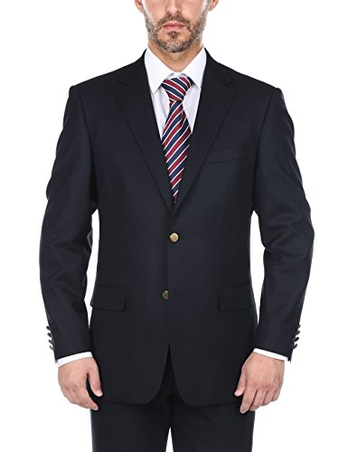 Classic Wool Blazer - Chama Men's 100% Wool Single Breasted Black & Navy Classic Fit Blazer with Brass Buttons (Navy, 48R)