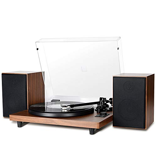 DIGITNOW Vinyl Record Player with Magnetic Cartridge & Adjustable Counter Weight,Wireless Bluetooth Turntable HiFi System with 36 Watt Detachable Speakers for High Fidelity Sound.