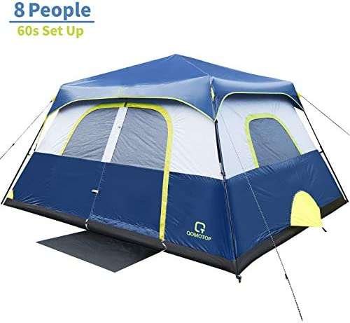 OT QOMOTOP Tents, 4 6 8 10 Person 60 Seconds Set Up Camping Tent, Waterproof Pop Up Tent with Top Rainfly, Instant Cabin Tent, Advanced Venting Design, Provide Gate Mat