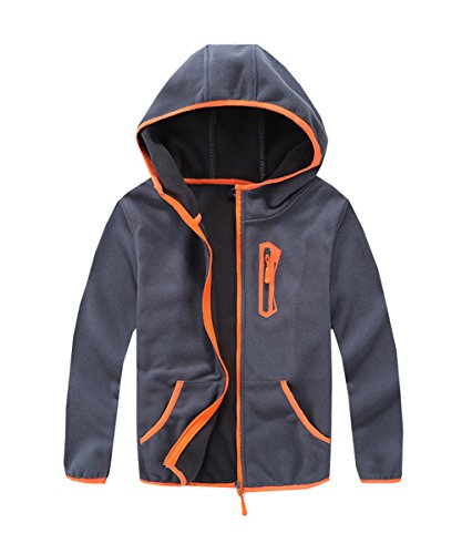 - M2C Boys Soft Cozy Full Zip Polar Fleece Hoodie Jackets 6/7 Light Gray
