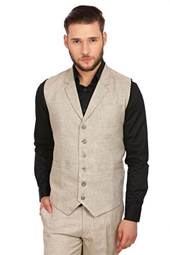 Wintage Men's Linen Blend Notch Lapel Vest: Beige, 5X-Large Notch Lapel Vest