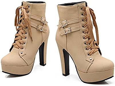 Faux Suede Platform Chunky Heel Strappy Women Ankle Boot New Knight Shoes Autumn
