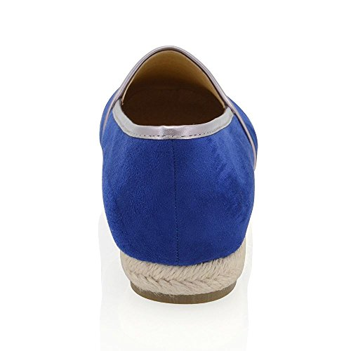 Scamosciato su GLAM Espadrilla Finto Scarpa Donna ESSEX Scivolare Piatto Sandali Blu Mocassino cPTq6qfYw