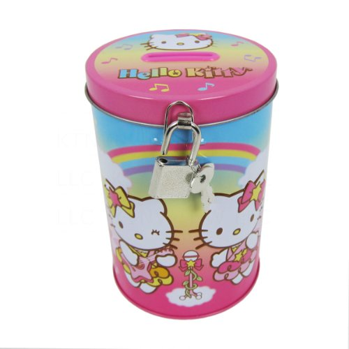 Officially Licensed Sanrio Aluminum Can Coin Bank with Lock - Hello Kitty Musical Fairies