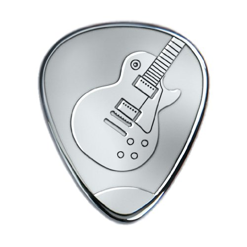 Solid Sterling silver Guitar Pick with etched