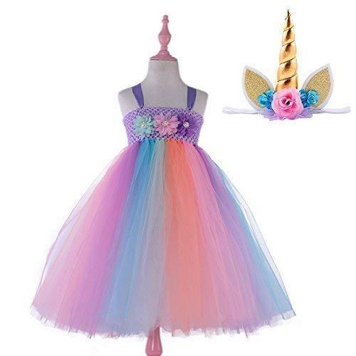 Candy Rainbow Princess Girls Unicorn Tutu Dress with Headband Baby Dress Up Costume for Birthday Dance Wedding Party