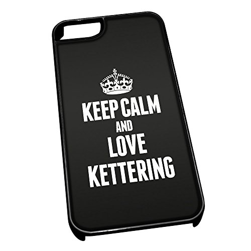 Cover per iPhone 5/5S, colore: nero 0367 Nero Keep Calm And Love Kettering