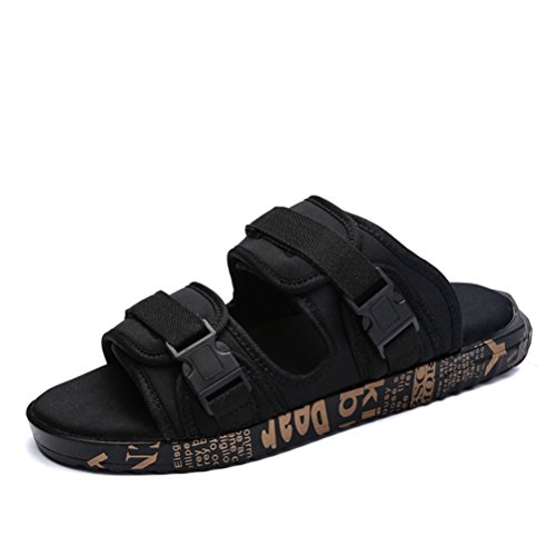 with Beach JULY Open Toe Sole Lightweight Men's Fashion Black Sport Gold Rubber Slide T Casual Slippers Sandals dX1wq1O