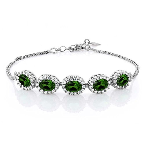 5.04 Ct Oval Green Chrome Diopside 925 Sterling Silver Bracelet 7