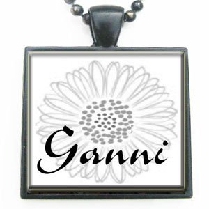 Ganni Grandmother Flower Glass Tile Black Pendant Necklace W/chain from Classic Art Jewelry