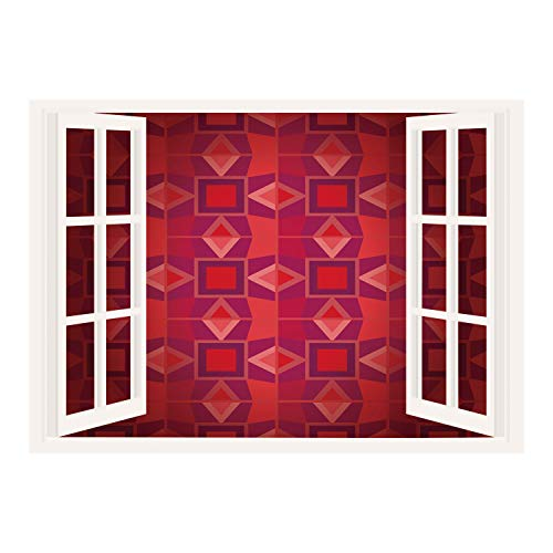 SCOCICI Peel and Stick Fabric Illusion 3D Wall Decal Photo Sticker/Maroon,Geometrical Traditional Tiles Squares Triangles Flower Inspired Mosaic Decorative,Maroon Lavander Peach/Wall Sticker Mural