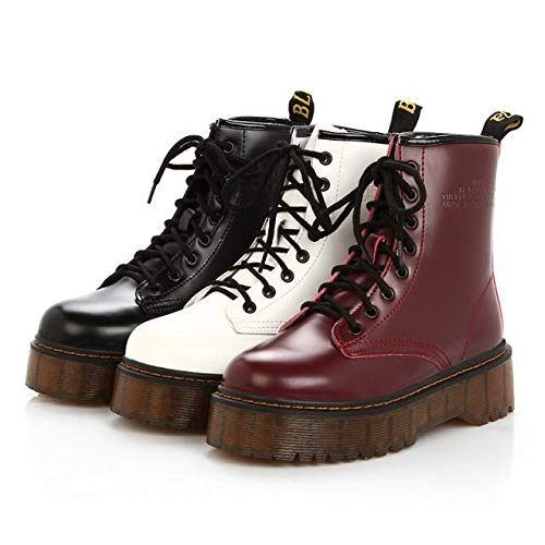 Martin Eleganti Stivali Nero Classici Stringate Stivaletti Invernali Beautyjourney Donna Autunnale Boot Boots Pelle Impermeabile Scarpe xRzwgqUwn