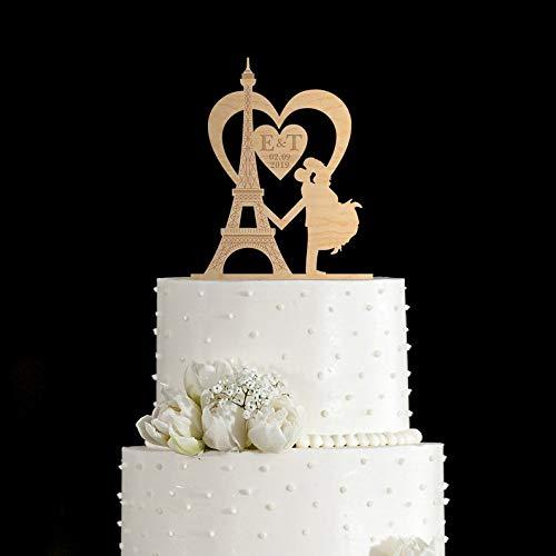 (Eiffel tower wedding,Eiffel tower cake topper,Paris wedding cake topper,heart wedding cake topper,initials cake topper,cake topper date,112 )