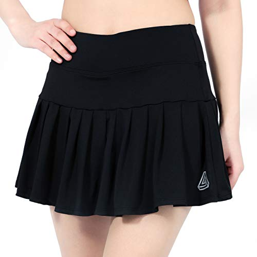 DOMICARE Women High Waist Pleated Tennis Golf Skorts with Pockets, Active Athletic Lightweight Skirts for Running Workout, S, Black