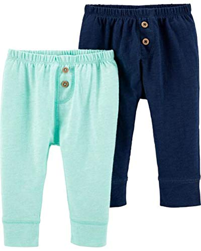 Carter's Baby Boys 2 Pack Pants, Turquoise/Navy, 3 Months